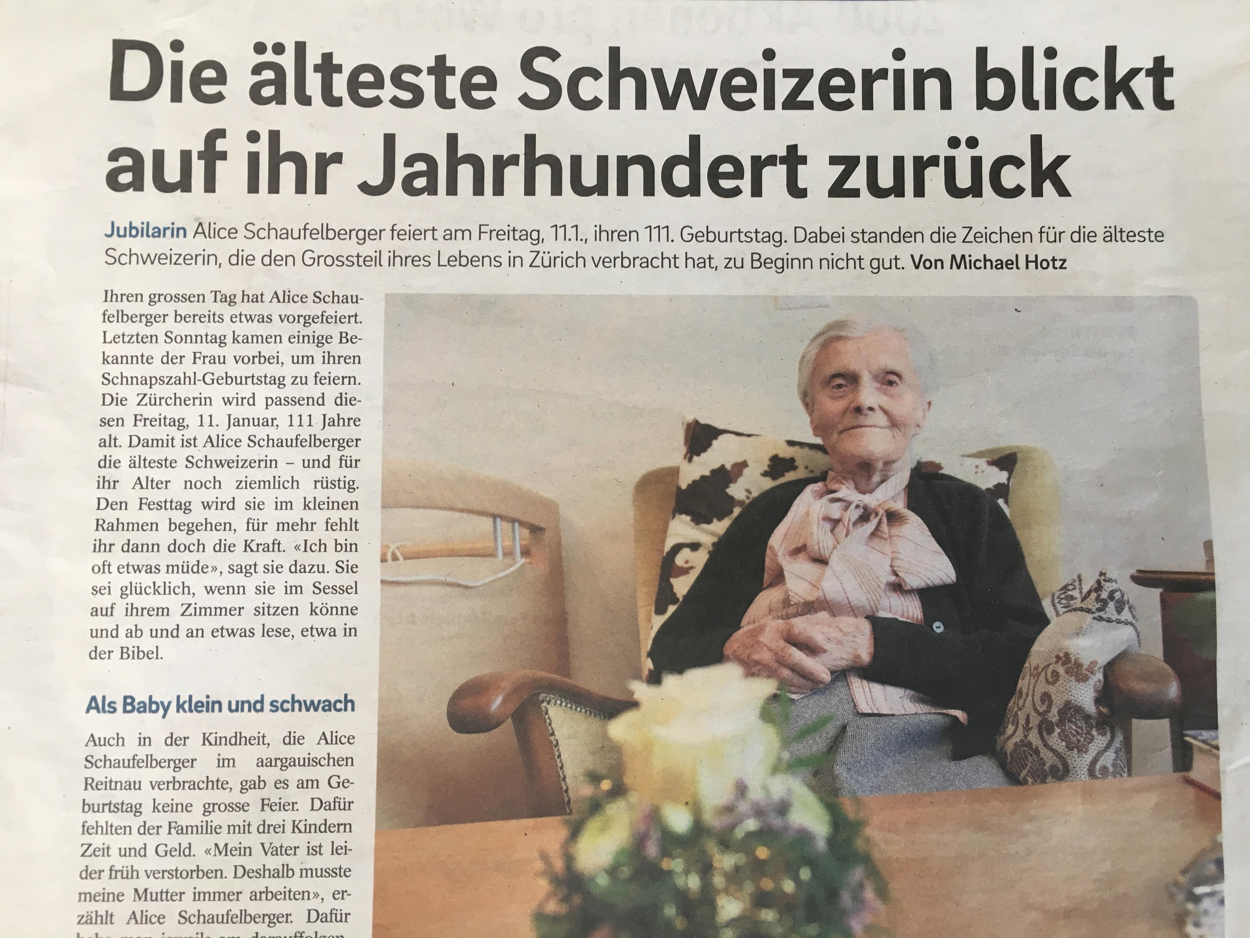 瑞士傳真|瑞士111歲人瑞,用生命寫時代的故事