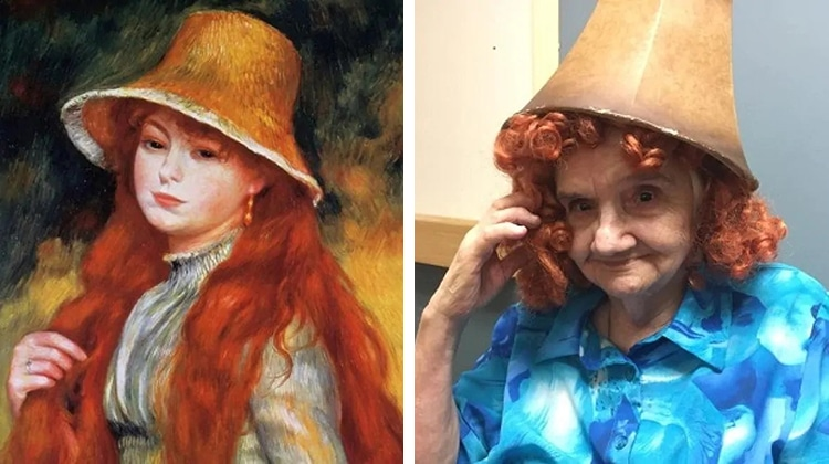 """Margaret Beaver奶奶模仿畫作""""Young Girl in a Straw Hat"""""""